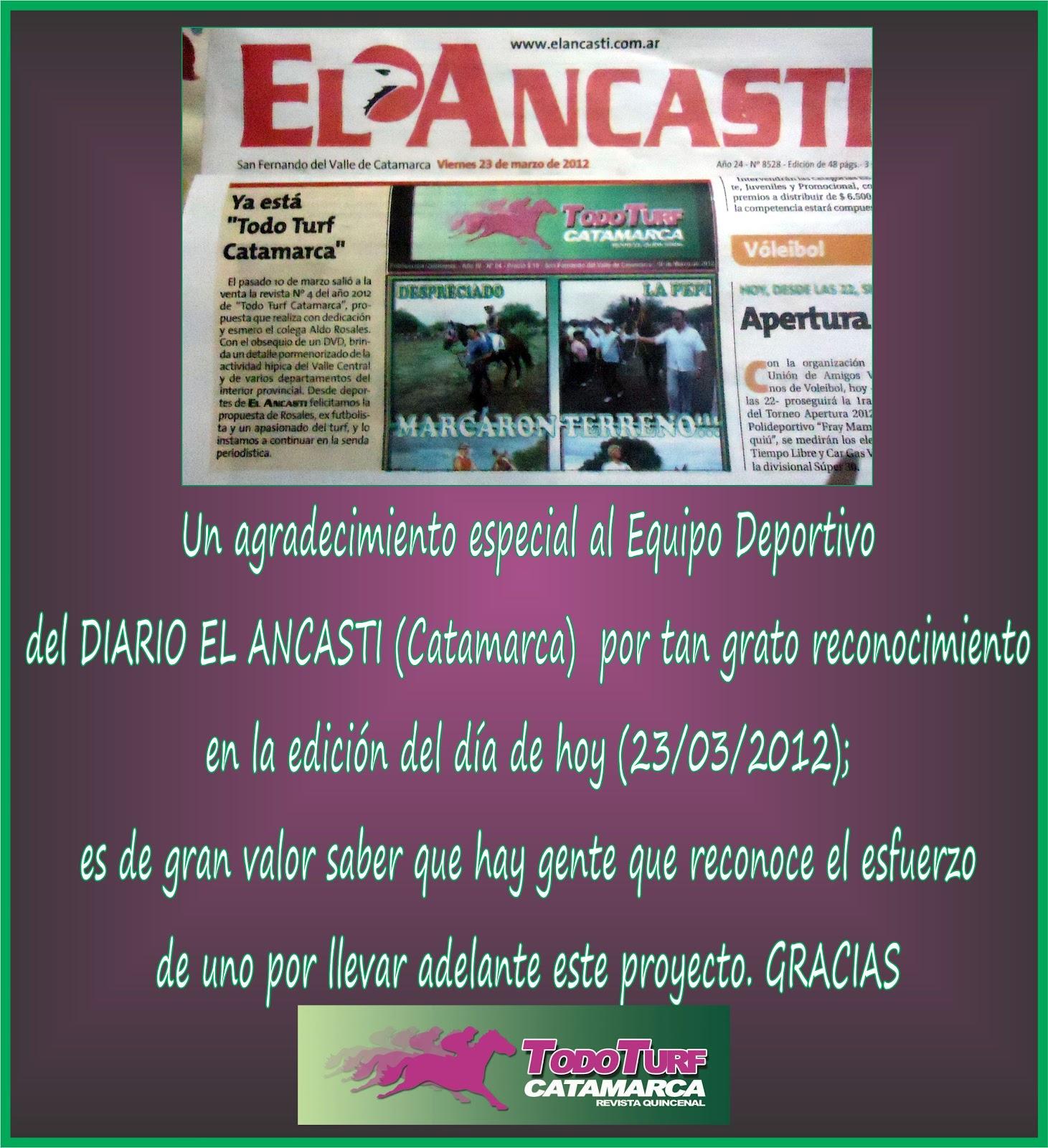Revista Todo Turf Catamarca Agradecimiento A Diario El