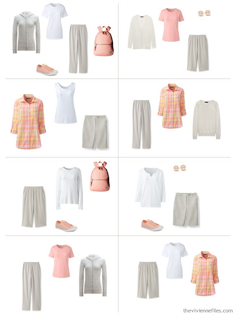 eight outfits featuring an accent of Blooming Dahlia with stone and white