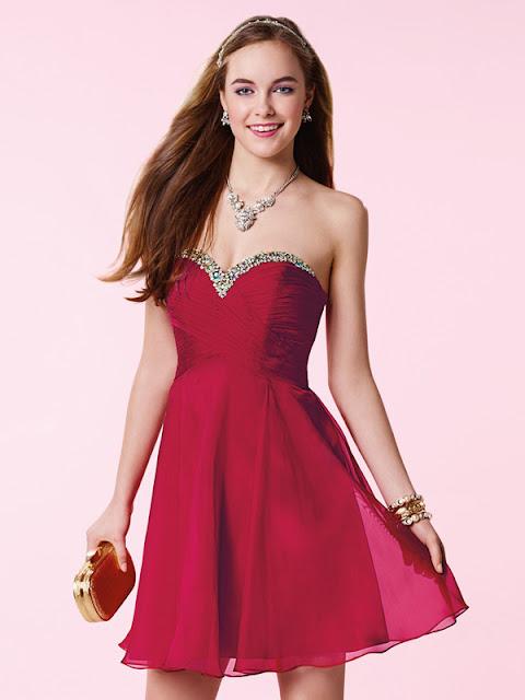 Corte A Escote Corazón Gasa Diamante de Imitación Corta Vestidos de Fiesta/Vestidos de Graduación #SH234
