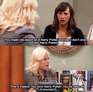 a conversation between Leslie Knope and Anne Perkins about Harry Potter