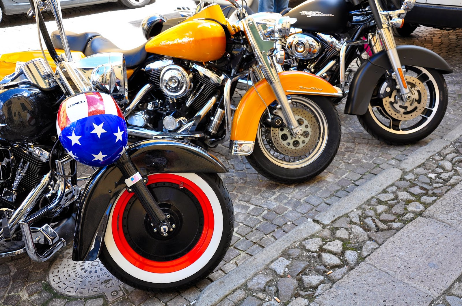 Motorcycles' front wheels in Montagnana, Veneto, Italy