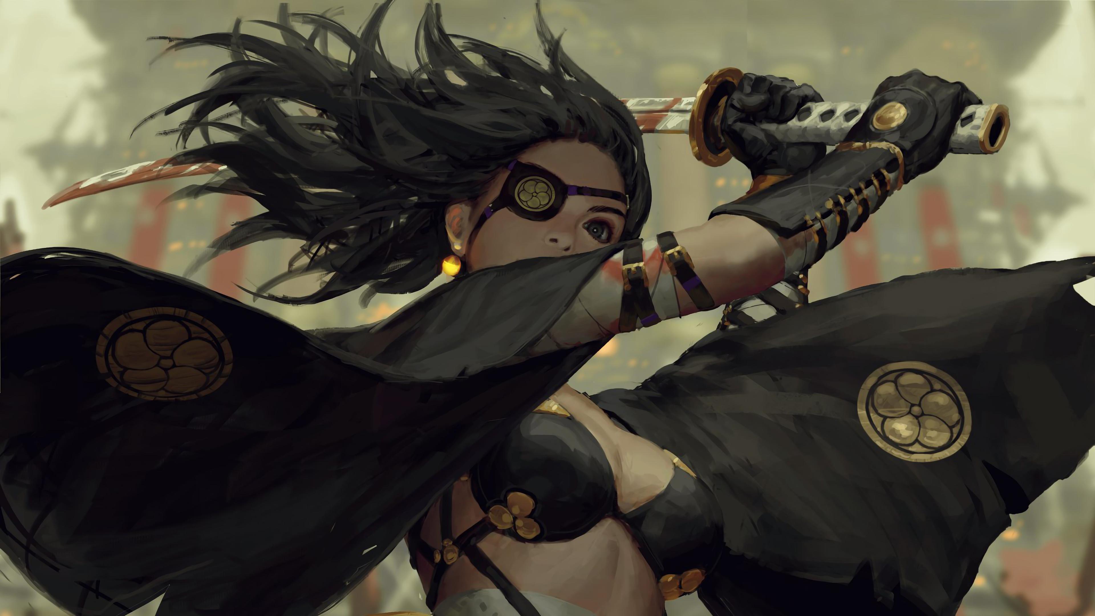 Samurai Girl Katana Fantasy Art 4k Wallpaper 95