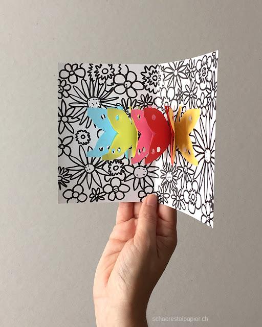 schaeresteipapier schmetterlinge auf der blumenwiese pop up karte. Black Bedroom Furniture Sets. Home Design Ideas