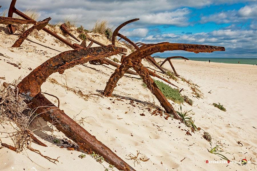 Cementerio de Anclas en la Playa del Barril, Isla de Tavira, Algarve