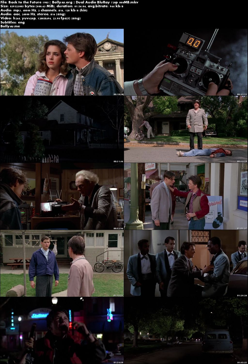 Back to the Future 1985 BluRay 800MB Hindi Dual Audio 720p Download
