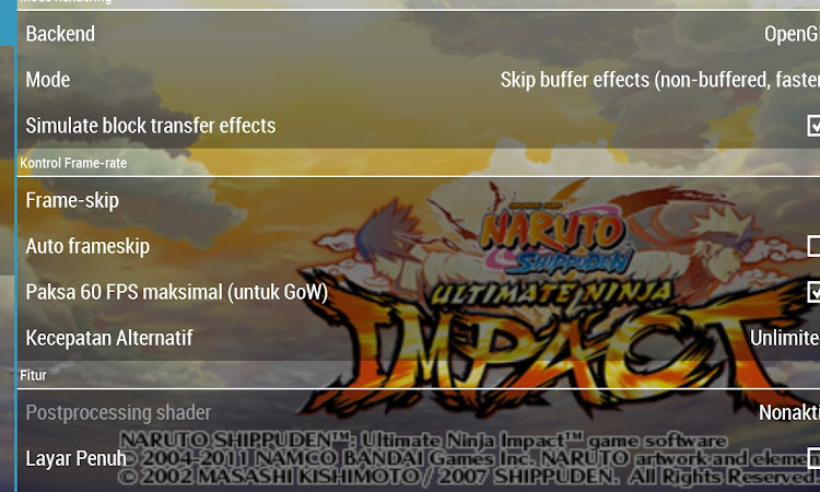 Best Setting Naruto Shippuden Ultimate Ninja Impact For PC and Android Low Spec PPSSPP