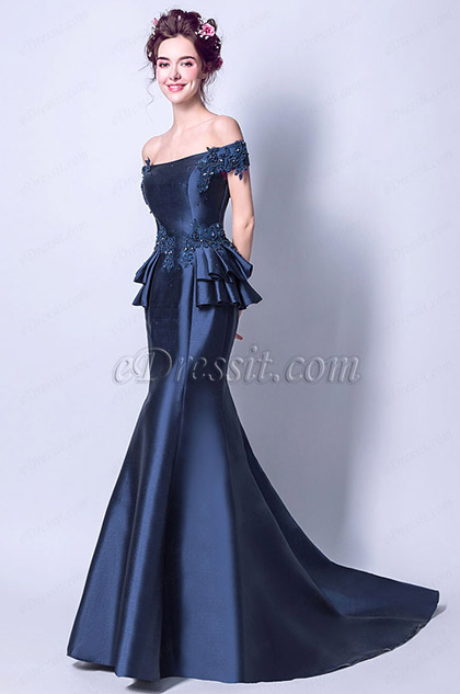 navy blue off the shoulder mermaid evening gown