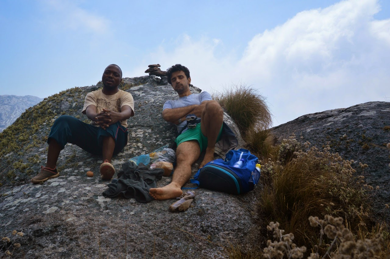 Mulanje Mountain Trek hike Climbing Mount Sapitwa lunch break shorts man male
