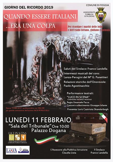 """""""Giorno del Ricordo"""", a Foggia lunedì 11 febbraio la commemorazione con un concerto del  coro del """"Lanza-Perugini"""""""