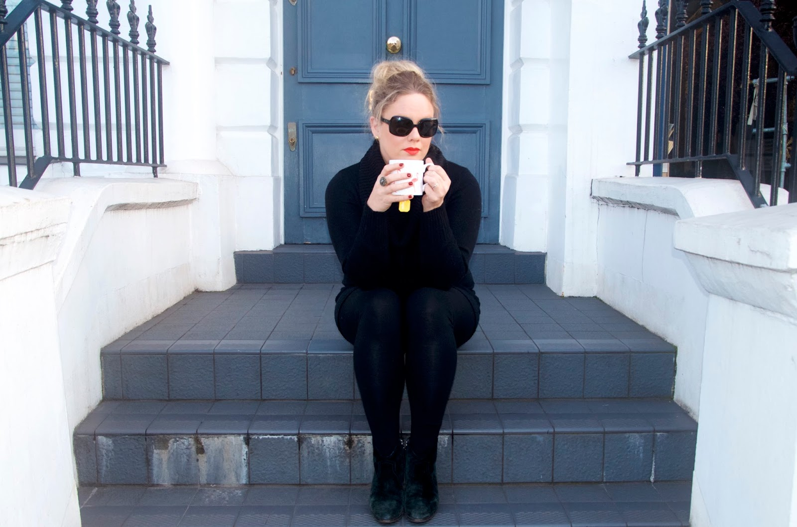 Drinking tea on the steps