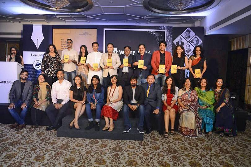 Write India book launch winners Nainesh Prapti Panda Ramya Vivek Samah Visaria Rohit Tandeka Vasudha Chandna Roshan Radhakrishnan Tishampati Sen Aarti
