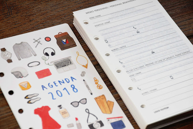 agenda cover with personal info page