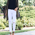 lace cami // white jeans outfit