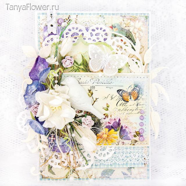 открытка ручной работы с цветами птицами и бабочками