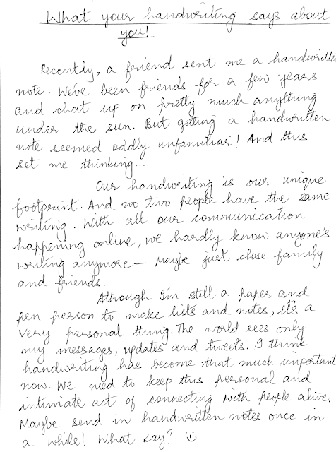 Handwriting tells