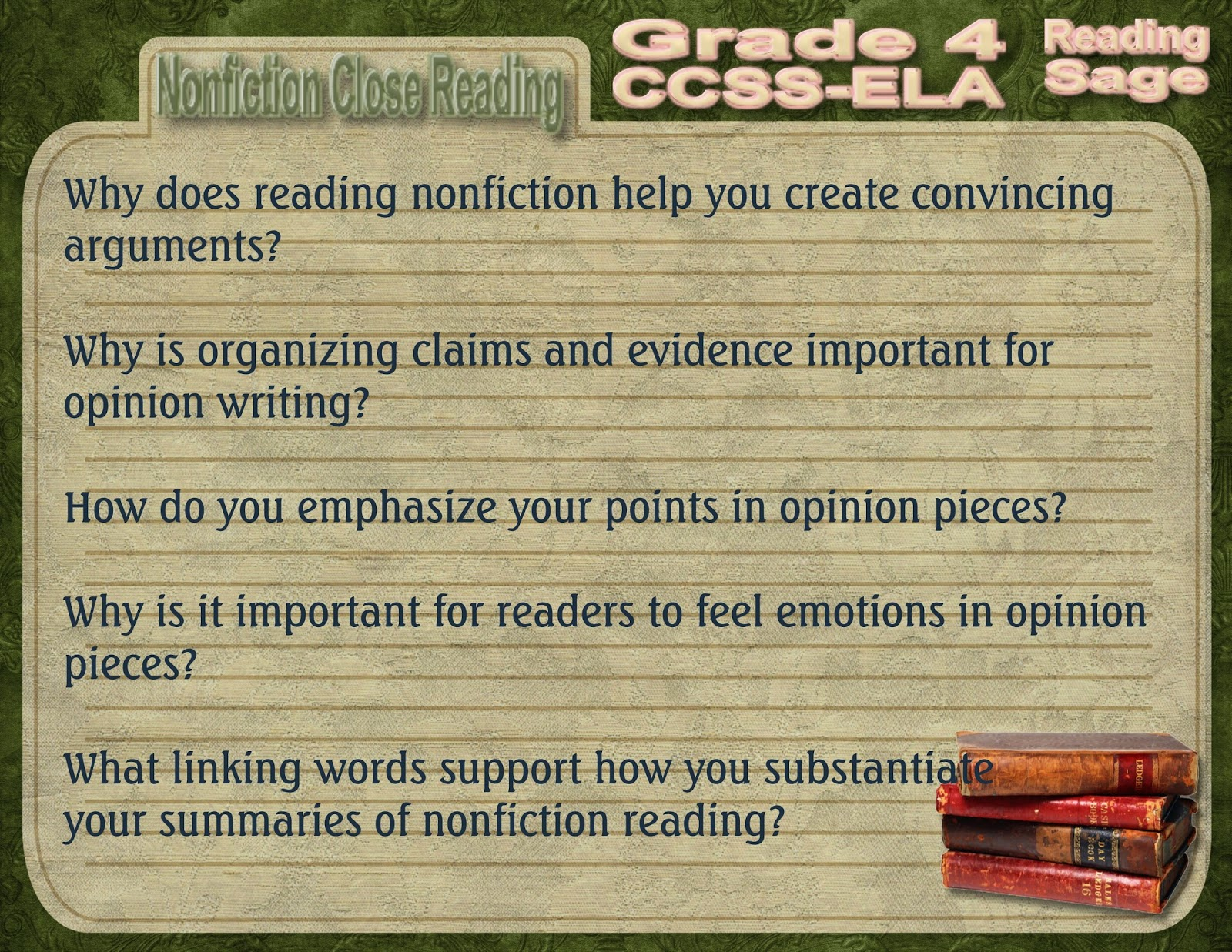 graphic relating to Printable Close Reading Passages for 4th Grade called Looking at Sage: Quality 4 Nonfiction Conclude Examining Wonder Stems