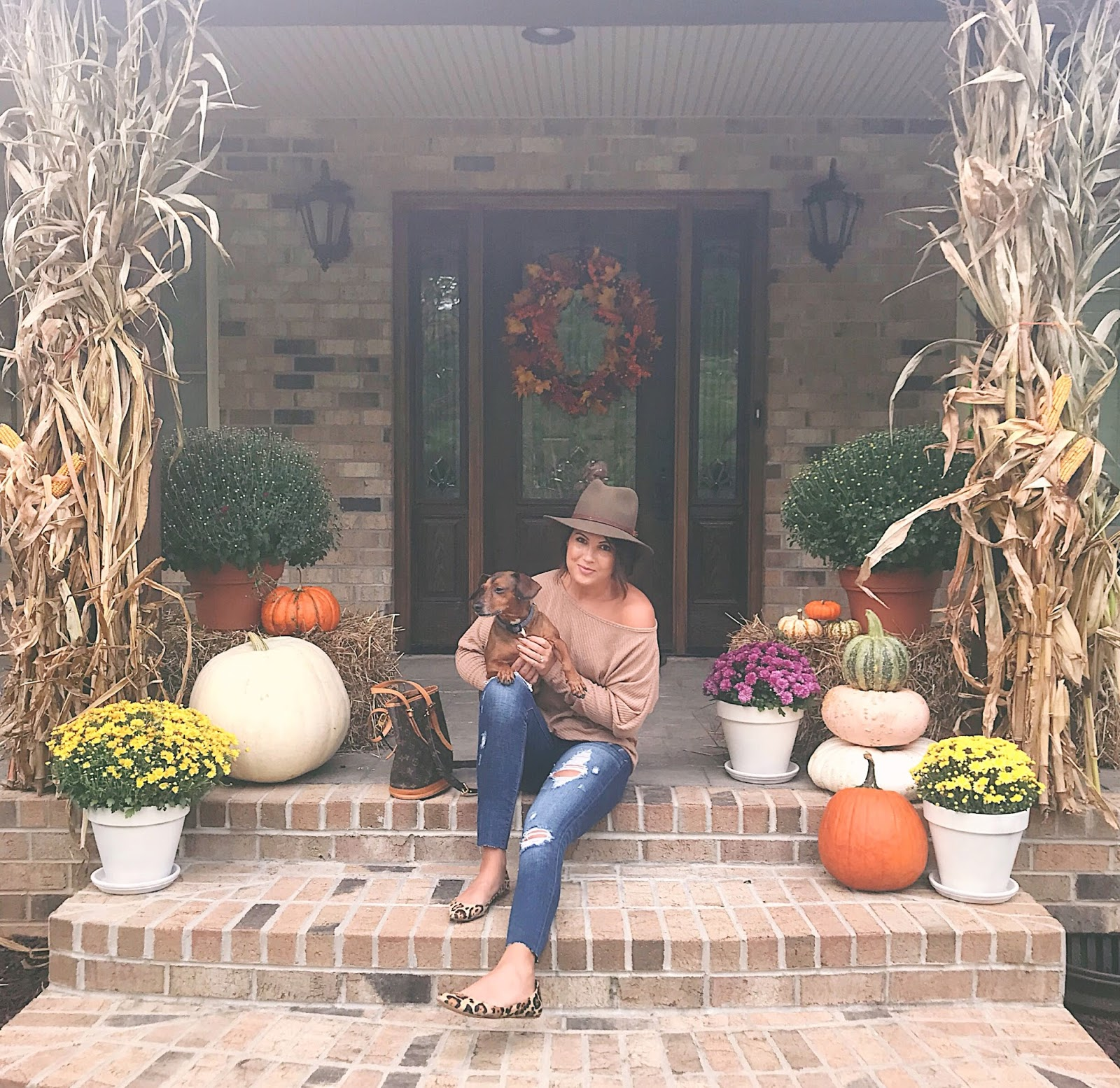 fall porch, pinterest fall porch, vintage louis vuitton, rag and bone hat