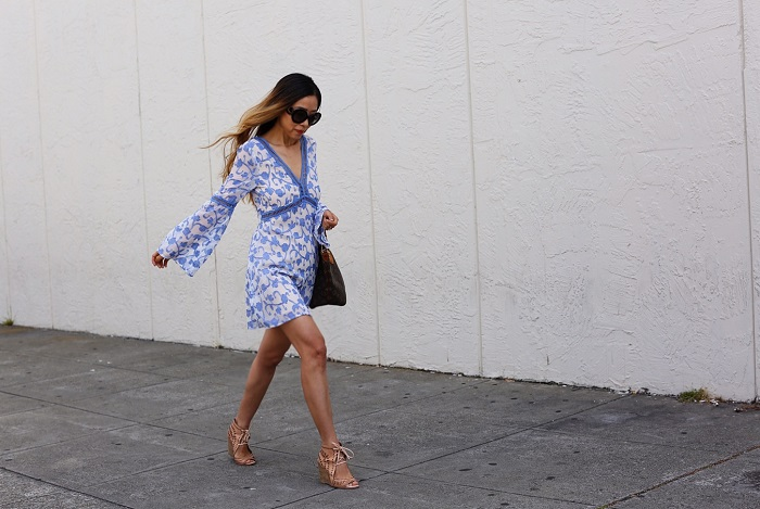 renamed great vine bell sleeve dress, bell sleeve dress, date night dress, prada sunglasses, lv bag, jeffrey campbell wedge sandals, date night outfit, sf street style