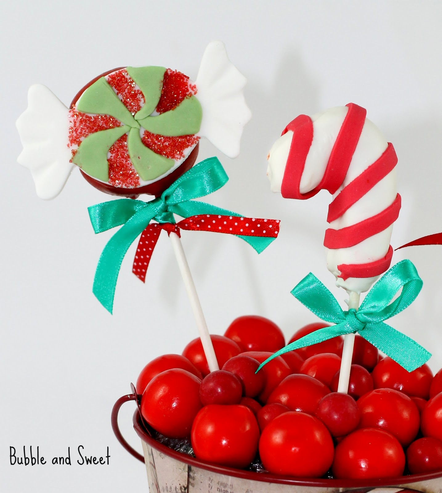 Bubble And Sweet Peppermint Candy Christmas Cake Pop