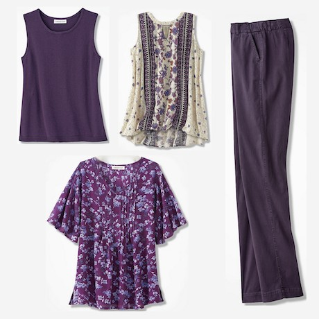 c76a6ff023c Clockwise from top left: Coldwater Creek Fine Gauge Shell in Midnight  Violet; Coldwater Creek Artist Festival Tunic in Multi; Coldwater Creek  Hidden ...
