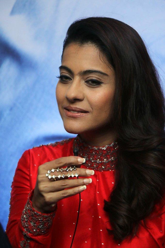 Bollywood Actress Kajol In Red Dress At Tamil Movie Press Meet