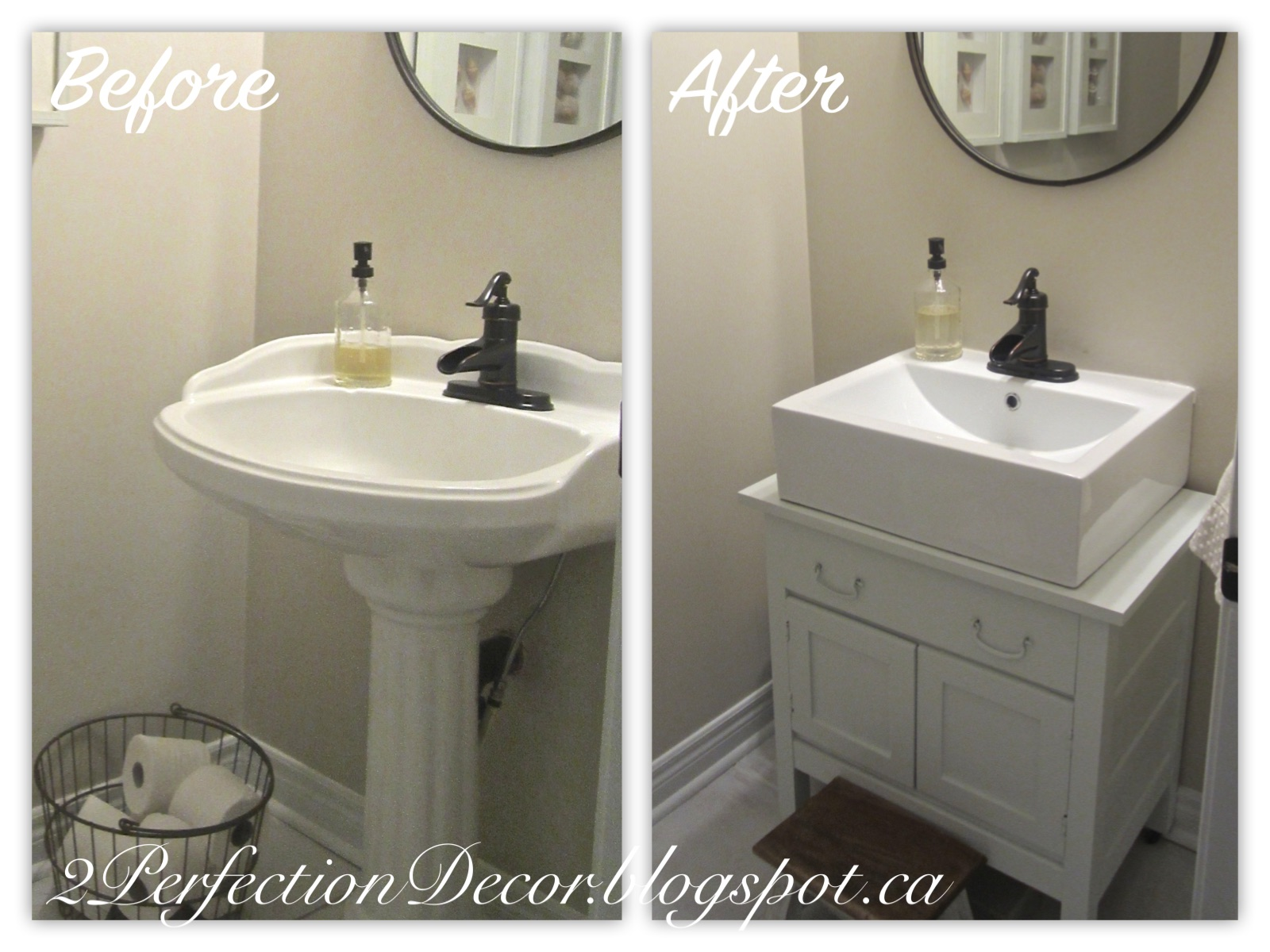 Antique Wash Basin Stand Into Vanity Makeover