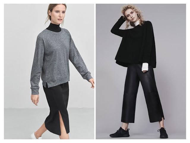 Водолазка с черным и серым свитером
