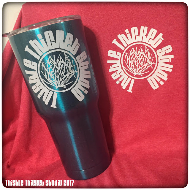 Thistle Thicket Studio, custom t-shirt, custom travel cup