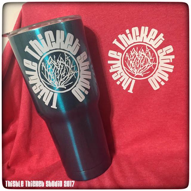 Thistle Thicket Studio, custom t-shirt, custom travel cup