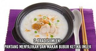 Tradisi Imlek : Pantang menyajikan dan makan bubur ketika Imlek