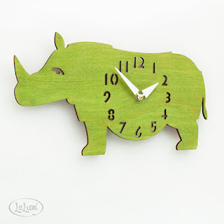 "The ""Rotund Rhino in Lime Green"" Kid's wall mounted clock from LeLuni wood unique rhinoceros jungle animal safari zoo neutral unisex boy girl baby nursery children's room"