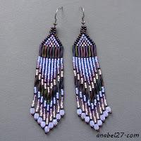 длинные фиолетовые серьги из бисера