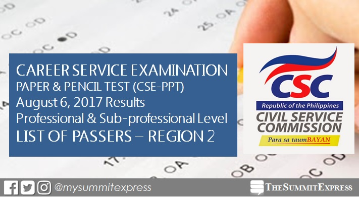Region 2 Passers: August 2017 Civil Service Exam results (CSE-PPT)