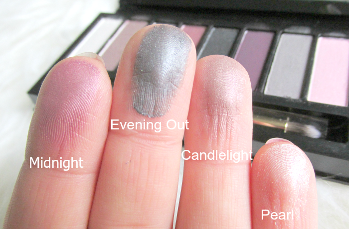 Artistry Little Black Dress Eyeshadow Palette - Swatches trocken - Midnight, Evening Out, Candlelight, Pearl