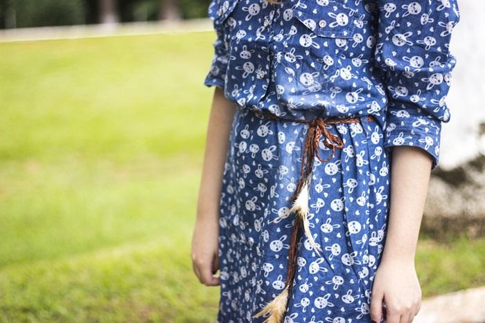 vestido manga longa coelho estampa fofo vestido jeans