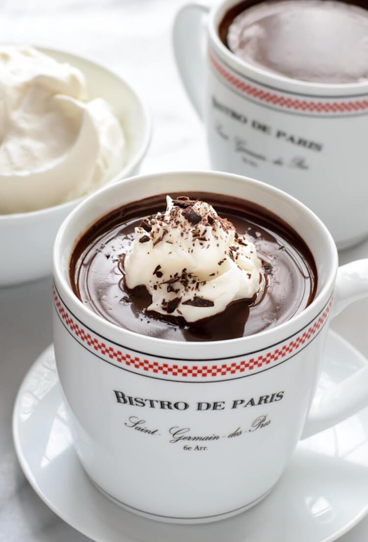 receta de chocolate caliente francés