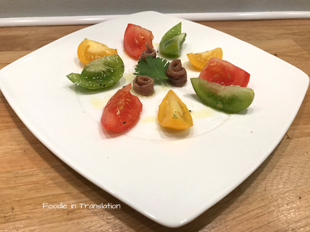 Insalata di pomodori antichi e acciughe - Heirloom tomatoes and anchovies salad