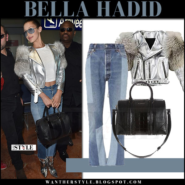 Bella Hadid in metallic silver jacket marc jacobs what she wore may 16 2017