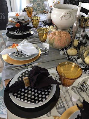 Thanksgiving tablescape, black and white polka dot plates