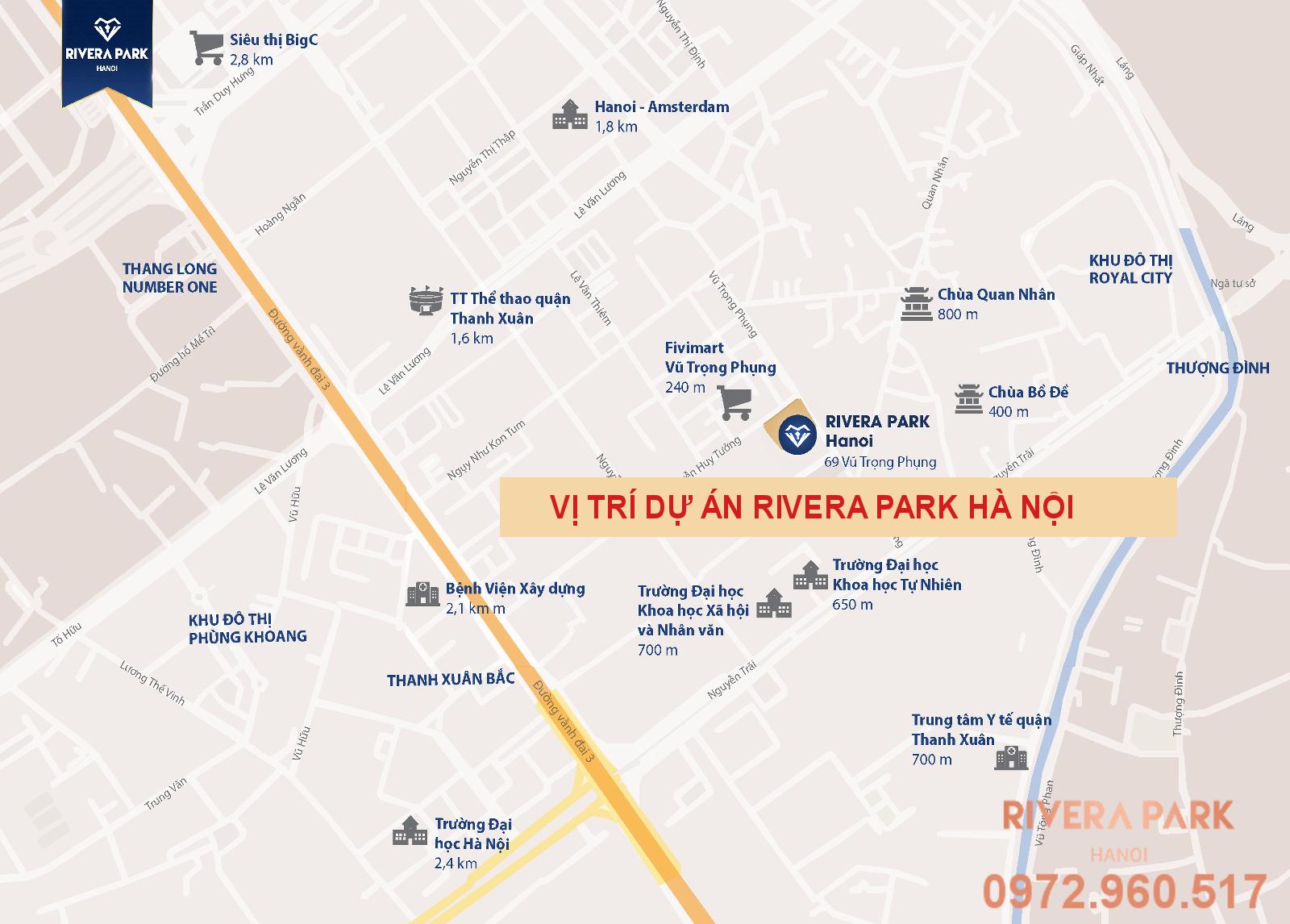 Hình ảnh vị trí dự án chung cư Rivera Park Hà Nội | 69 Vũ Trọng Phụng