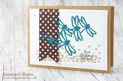 Geburtstagskarte mit Libellen; Stampinup Demonstrator; Teamgeschenke; Stampinup Jahreskatalog 2018; Geburtstagsreigen; Stampinup bestellen; stempel-biene
