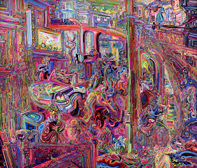 Dominance by Josh Byer an acrylic & ink on canvas painting of a surreal vividly coloured street scape.