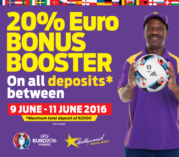 Get more bang for your buck with Hollywoodbets' Euro 2016 deposit bonus promotion!
