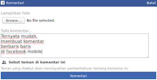 Trik Ganti Baris di Komentar Facebook Mobile