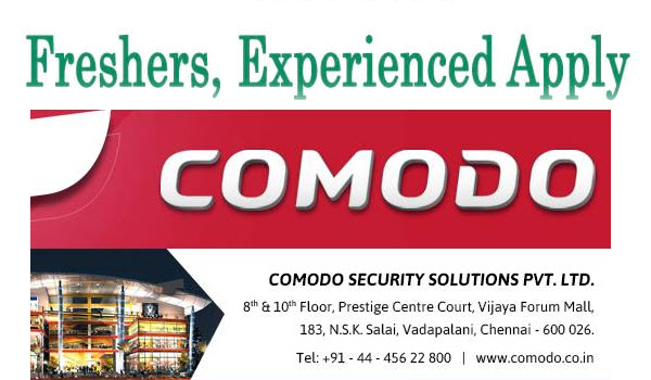 COMODO Security Solutions - Walkin Jobs