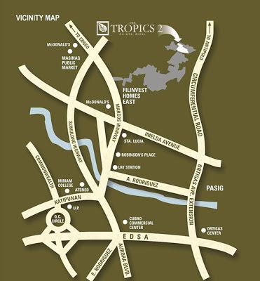The Tropics Cainta Location Map