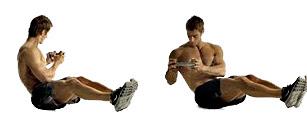 Abdominales laterales mancuerna ejercicio hombre rutina