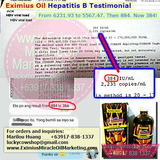 eximius oil testimonial hepatitis b review