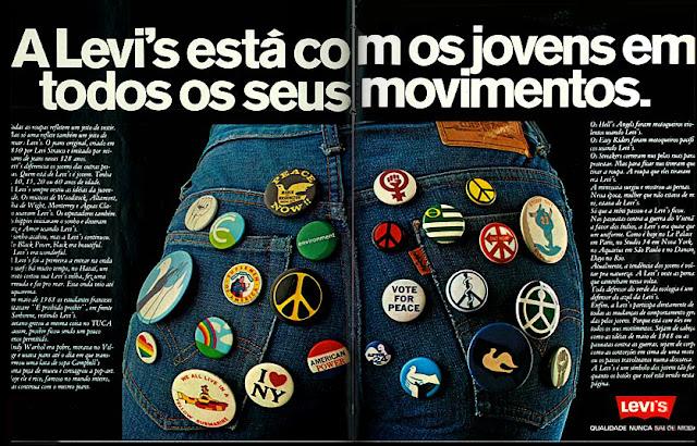anúncio de jeans levi's de 1979;  moda anos 70; propaganda anos 70; história da década de 70; reclames anos 70; brazil in the 70s; Oswaldo Hernandez