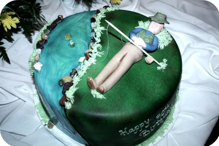 This A 90th Birthday Cake For Gentleman That Obviously Enjoys Fishing I Airbrushed The Grass And Sculpted Man